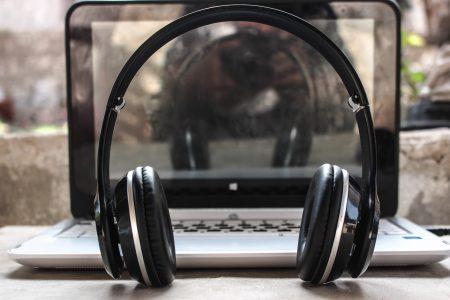 audio headphones and laptop